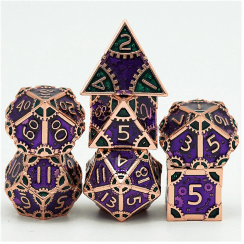 Dice and Gaming Accessories Polyhedral RPG Sets: Multicolored - Steampunk Evil Queen - Metal (7)