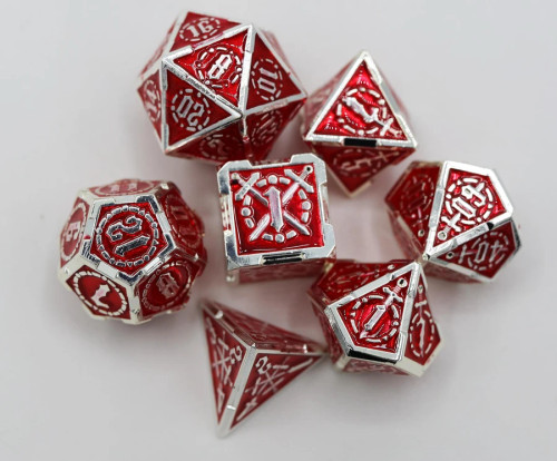 Dice and Gaming Accessories Polyhedral RPG Sets: Red and Orange - Sword of Hearts - Metal (7)