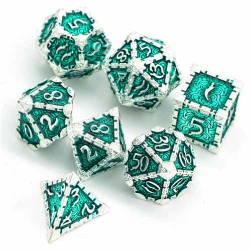 Dice and Gaming Accessories Polyhedral RPG Sets: Yellow and Green - Dagger of Venom: Silver Emerald - Metal (7)