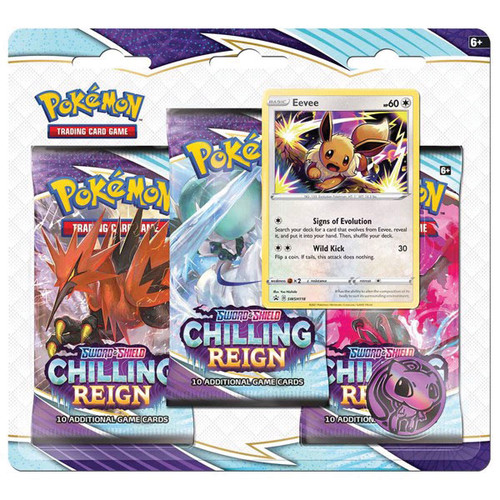 Pokemon TCG: Boosters and Booster Boxes - Sword & Shield 06 - Chilling Reign: 3-Booster Blister