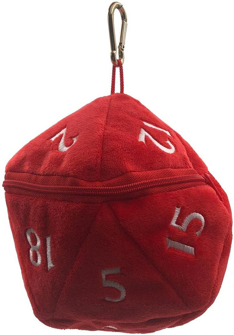Dice and Gaming Accessories Dice Bags: D20 Plush Dice Bag - Red