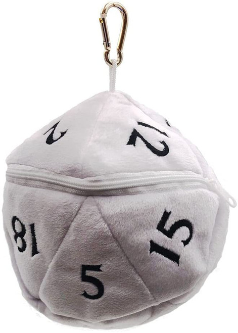 Dice and Gaming Accessories Dice Bags: D20 Plush Dice Bag - White