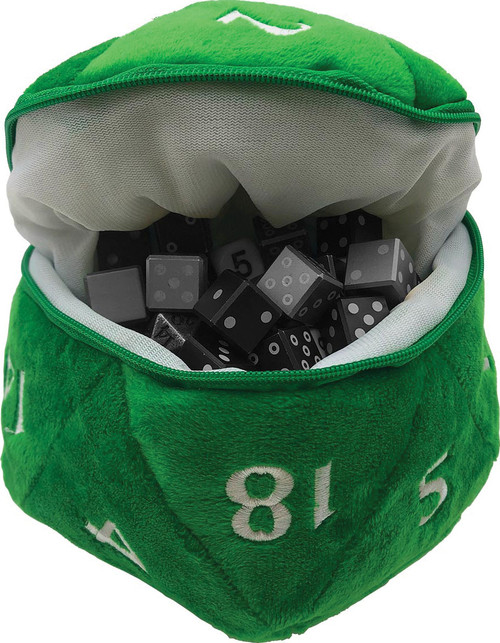 D20 Plush Dice Bag - Green