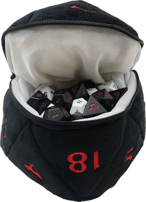 D20 Plush Dice Bag - Black and Red