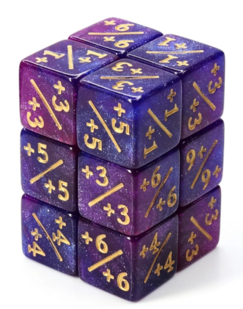 Dice and Gaming Accessories Game-Specific Dice Sets: +1/+1 Dark Blue & Purple Glitter Counters (8)