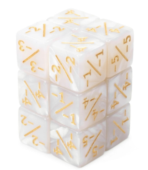 Dice and Gaming Accessories Game-Specific Dice Sets: -1/-1 Pearl White Counters (8)