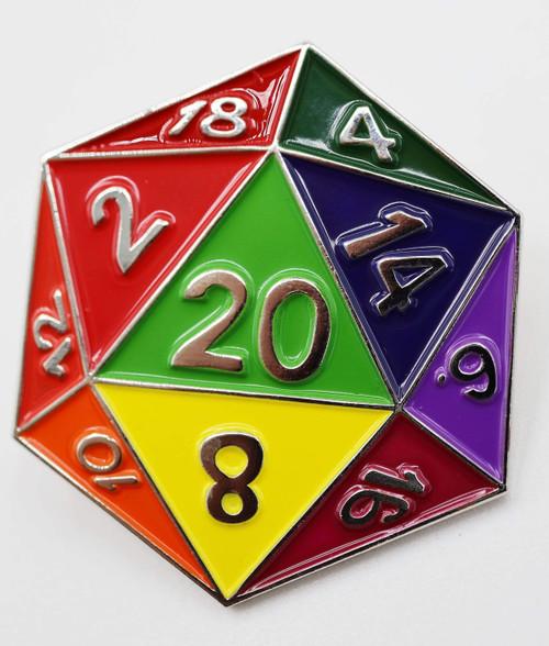 Pins: Rainbow D20 Enamel Pin