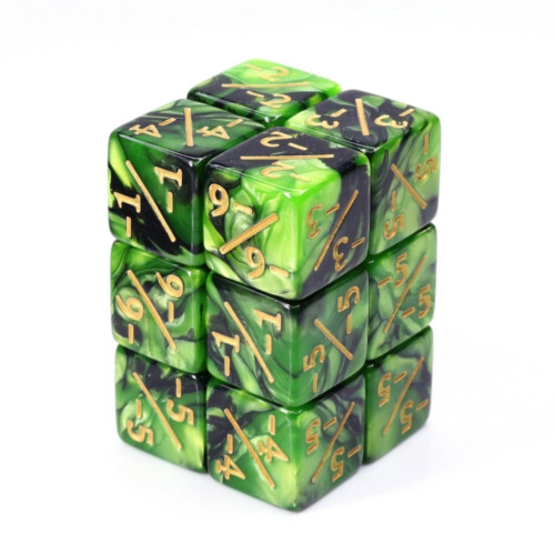 Dice and Gaming Accessories Game-Specific Dice Sets: -1/-1 Green & Black Counters (8)