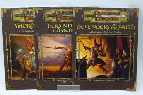 (Secondhand) Dungeons & Dragons: Books - D&D 3rd Edition Lot - Defenders of the Faith, Sword and Fist, Hero Builder's