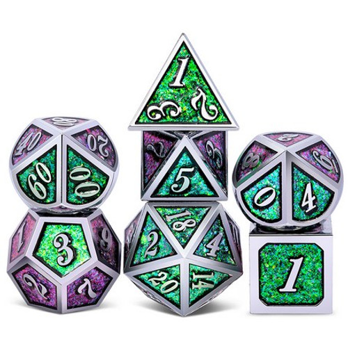 Dice and Gaming Accessories Polyhedral RPG Sets: Metal and Metallic - Cathedral Glass- Metal (7)