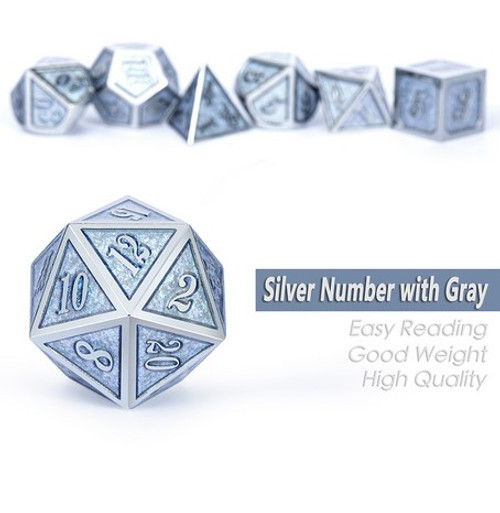 Dice and Gaming Accessories Polyhedral RPG Sets: Metal and Metallic - Ice - Metal (7)