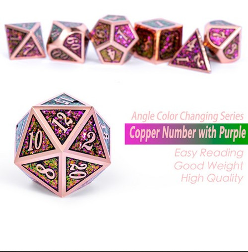 Dice and Gaming Accessories Polyhedral RPG Sets: Metal and Metallic - Lizard - Metal (7)