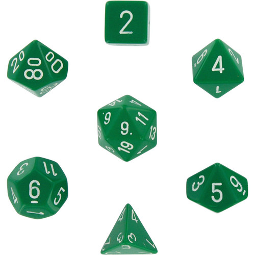 Dice and Gaming Accessories Polyhedral RPG Sets: Opaque: Green/White (7)