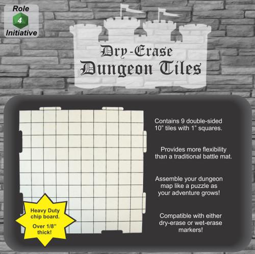 "General Playmats and Tiles: Dry Erase Dungeon Tiles - 10"" Interlocking Tiles (9)"