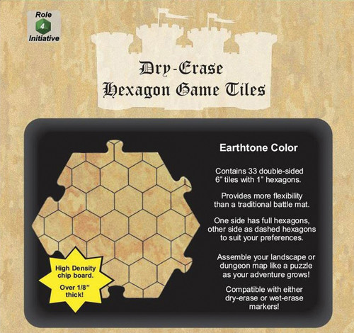 """General Playmats and Tiles: Dry Erase Dungeon Tiles: Earthtone - Pack of Thirty-Three 6"""" Hexagons"""