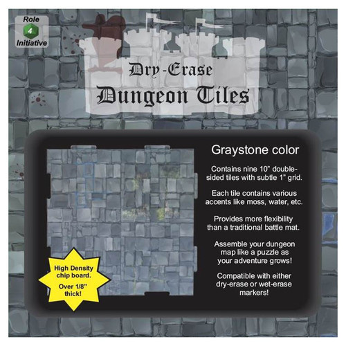 """General Playmats and Tiles: Dry Erase Dungeon Tiles: Graystone - Pack of Nine 10"""" Squares"""