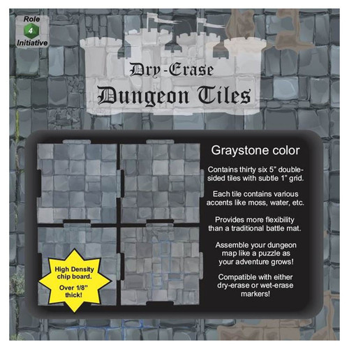 """General Playmats and Tiles: Dry Erase Dungeon Tiles: Graystone - Pack of Thirty-Six 5"""" Squares"""