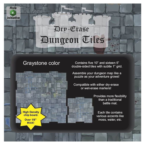 """General Playmats and Tiles: Dry Erase Dungeon Tiles: Graystone - Combo Pack of Five 10"""" and Sixteen 5"""" Squares"""