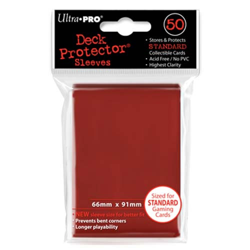 Card Sleeves: Solid Color Sleeves - Standard Deck Protectors - Red (50)