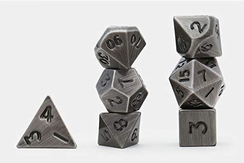 Dice and Gaming Accessories Polyhedral RPG Sets: Metal and Metallic - Metal: Dark Metal (7)