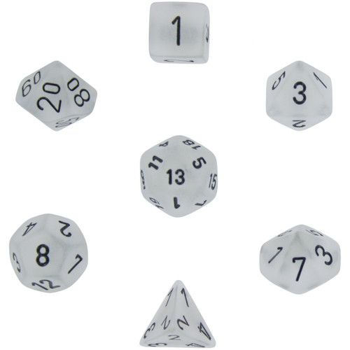 Dice and Gaming Accessories Polyhedral RPG Sets: White and Clear - Frosted: Clear/Black (7)
