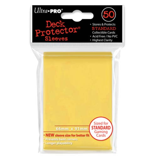 Card Sleeves: Solid Color Sleeves - Standard Deck Protectors - Yellow (50)