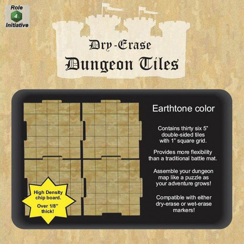 """General Playmats and Tiles: Dry Erase Dungeon Tiles: Earthtone - Pack of 36 5"""" Squares"""