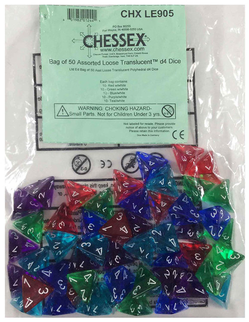 Dice and Gaming Accessories Bulk Dice: Translucent: Assorted Limited Edition Bag of D4s (50)