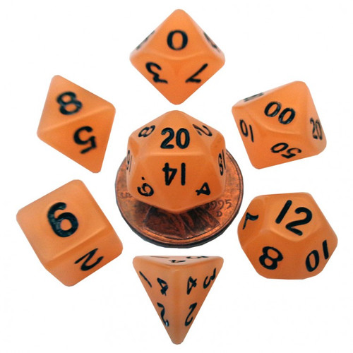 Dice and Gaming Accessories Polyhedral RPG Sets: 7-Set Mini: 10mm: Glow OR w/BK Numbers