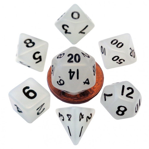 Dice and Gaming Accessories Polyhedral RPG Sets: White and Clear - 7-Set Mini: 10mm: Glow CL w/BK Numbers