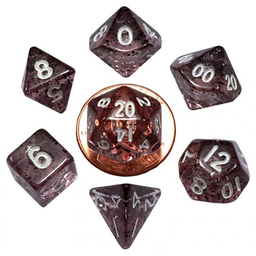 Dice and Gaming Accessories Polyhedral RPG Sets: Glitter - 7-Set Mini: 10mm: Ethereal BK w/WH