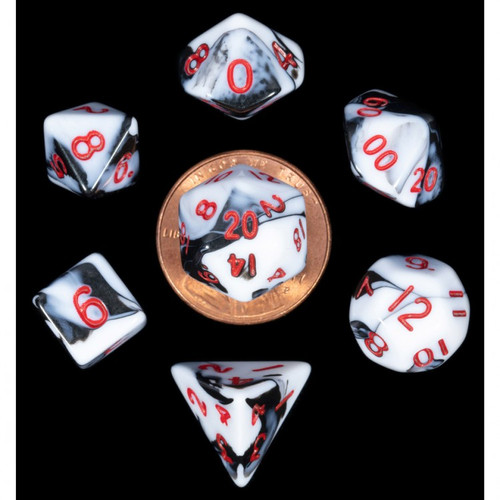 Dice and Gaming Accessories Polyhedral RPG Sets: 7-Set Mini: MBL w/RD Numbers
