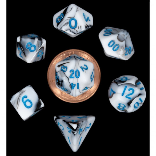 Dice and Gaming Accessories Polyhedral RPG Sets: 7-Set Mini: MBL w/BU Numbers
