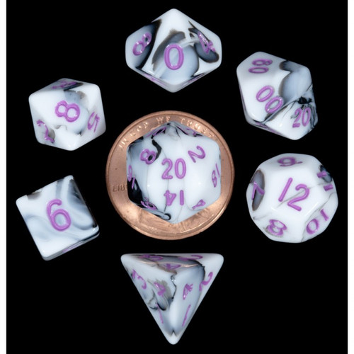 Dice and Gaming Accessories Polyhedral RPG Sets: 7-Set Mini: MBL w/PU Numbers