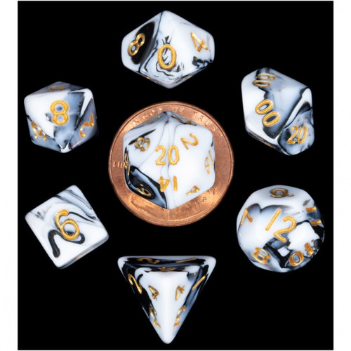 Dice and Gaming Accessories Polyhedral RPG Sets: 7-Set Mini: MBL w/GD Numbers