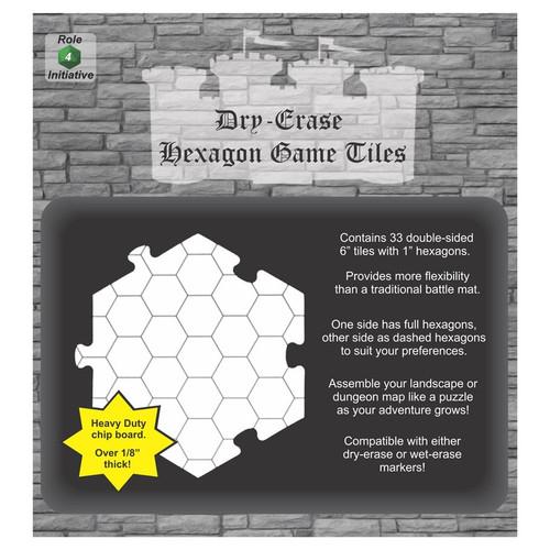 General Playmats and Tiles: Dry Erase Dungeon Tiles -  Hexagon Game Tiles