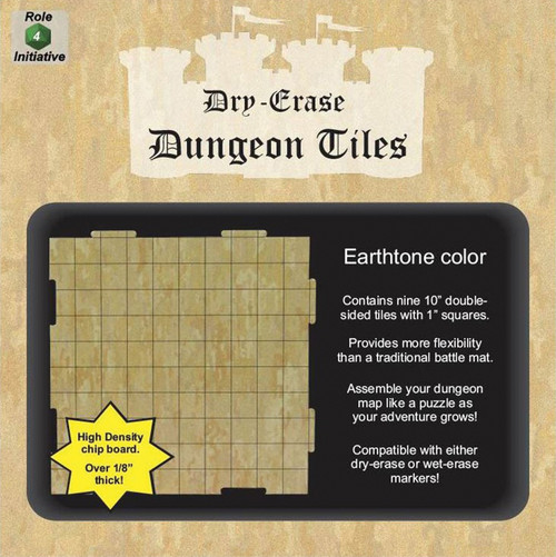 """General Playmats and Tiles: Dry Erase Dungeon Tiles: Earthtone - Pack of Nine 10"""" Squares"""