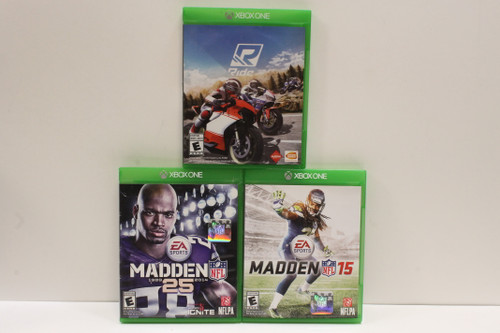 Used Xbox One Video Game Lot- Ride, Madden 15, Madden 25 [U-B5S4 262564]