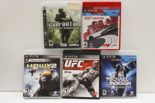 Used PS3 Video Game Lot- Call of Duty 4, Need for Speed, HAWX 2, UFC Undisputed3 [U-B5S4 262566]
