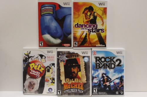 Used Wii Video Game Lot- Rockband 2, Mad Dog McCree, Petz Crazy Monkeyz, [U-B5S4 262568]