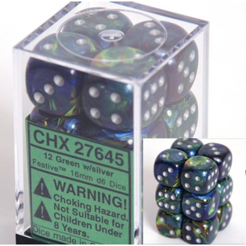 Dice and Gaming Accessories D6 Sets: Swirled - Festive: 16mm D6 Green/Silver (12)