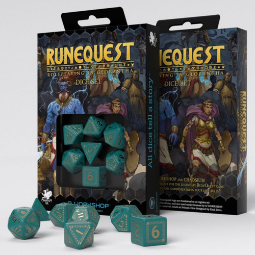 Dice and Gaming Accessories Game-Specific Dice Sets: RuneQuest Dice Set Turquoise/Gold (7)