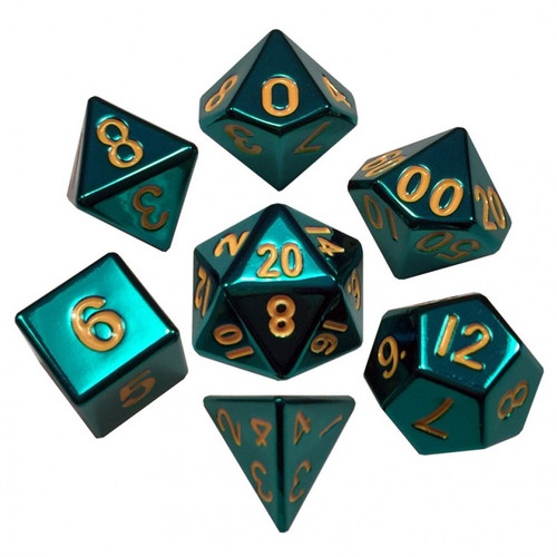 Dice and Gaming Accessories Polyhedral RPG Sets: 7-set: 16mm Turquoise Painted Metal