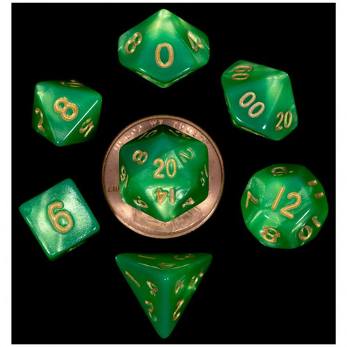 Dice and Gaming Accessories Polyhedral RPG Sets: 7-Set Mini: GRltgr w/GD Numbers