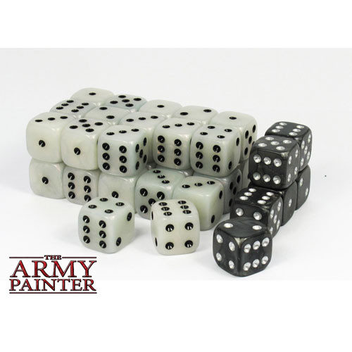 Dice and Gaming Accessories D6 Sets: White and Clear - Wargaming Dice: White (36)