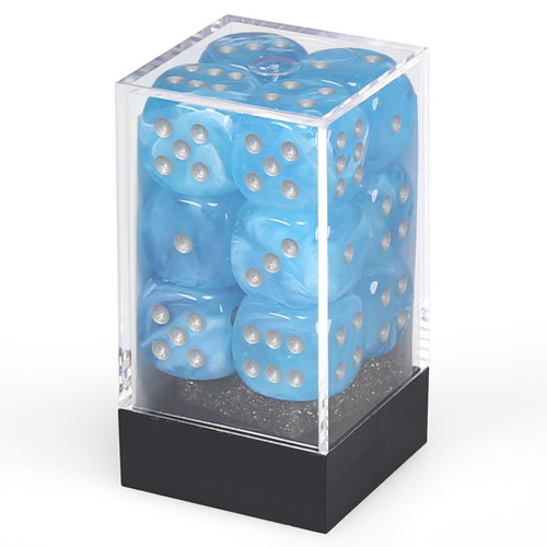 Dice and Gaming Accessories D6 Sets: Swirled - Dice Menagerie 10: 16mm D6 Luminary Sky/Silver (36)