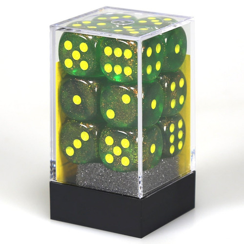 Dice and Gaming Accessories D6 Sets: Glitter - Borealis 16mm D6 Maple Green/Yellow (36)