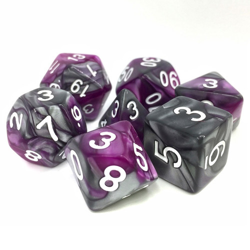 Dice and Gaming Accessories Polyhedral RPG Sets: Swirled - King's Purser Fusion (7)