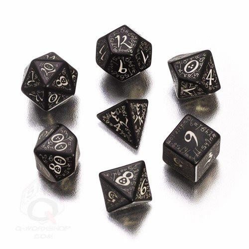 Dice and Gaming Accessories Polyhedral RPG Sets: Glow in the Dark - Elvish Dice Set Black/GlowNDark (7)