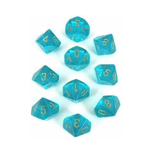 Dice and Gaming Accessories D10 Sets: Glitter - Borealis: D10 Teal/Gold (10)